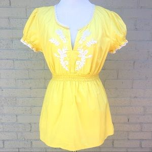 Tommy Hilfiger Yellow Embroidered Top Size M